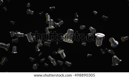 Metallic screws flow on black background. 3d render.