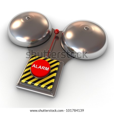 Metallic secure bell with a red button - Alarm. 3d illustration. - stock photo