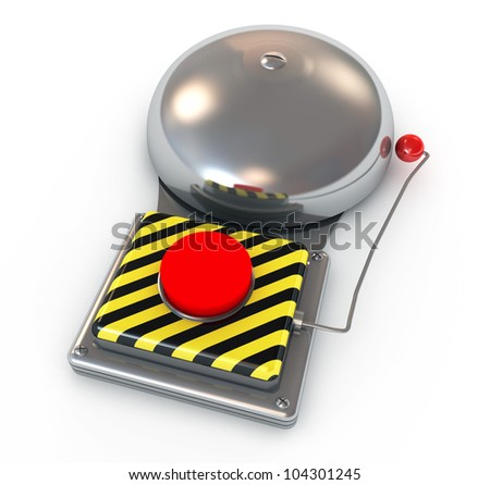 Metallic secure bell with a red button. isolated on white background - stock photo