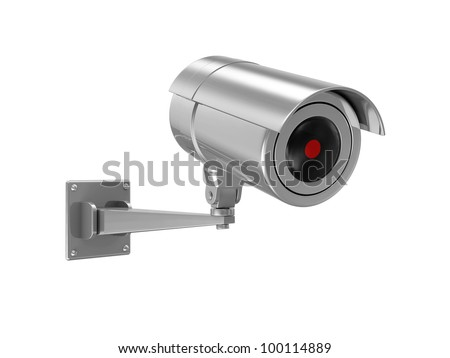 Metallic Security Camera isolated on white background - stock photo