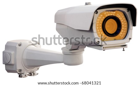 Metallic security camera isolated with clipping path