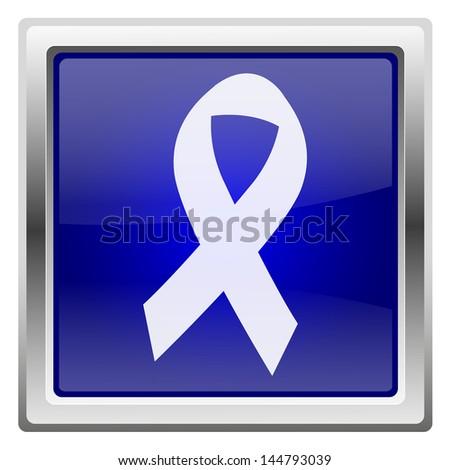 Metallic shiny icon with white design on blue background - stock photo