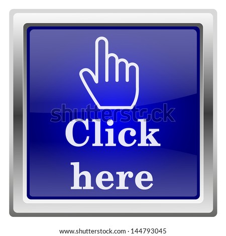 Metallic shiny icon with white design on blue background - stock photo