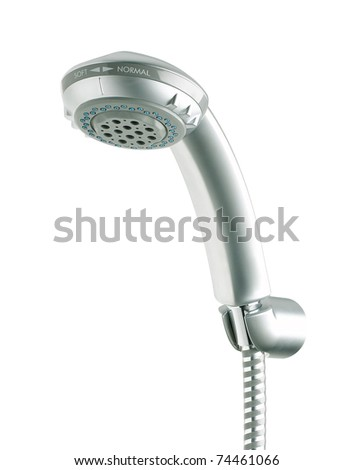 Metallic shower head isolated on white - stock photo