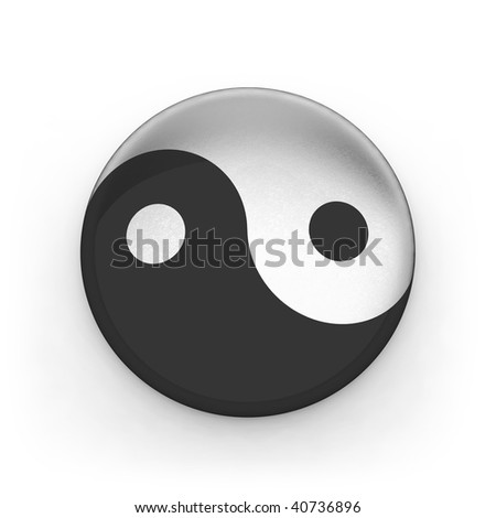 Metallic sing yin yang isolated on white background - stock photo