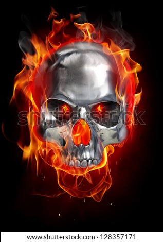 Metallic skull on fire - stock photo