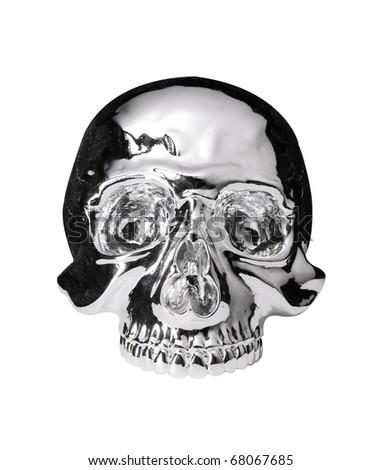 metallic skull.with path - stock photo