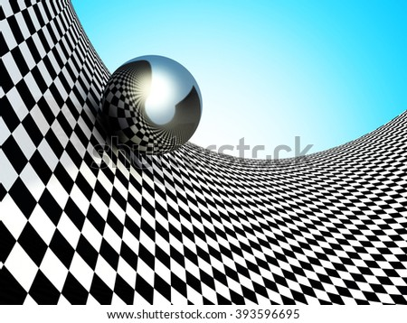 Metallic Spheres On Checker Surface. Abstract Background. 3d Render Illustration - stock photo