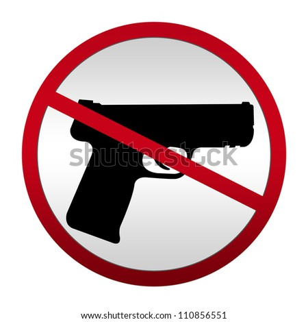 Metallic Style No Weapon Allowed Sign For Stop Violence Campaign Isolated On White Background - stock photo