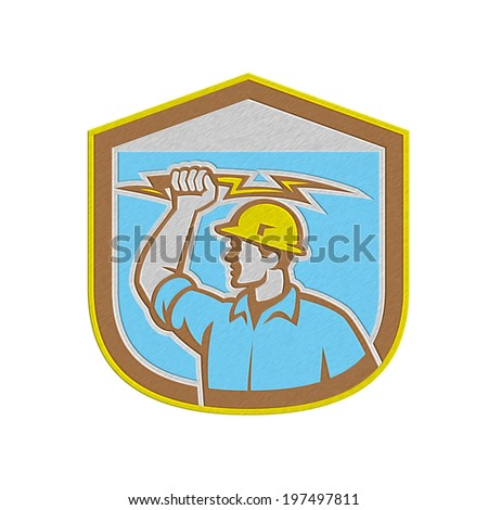 Metallic styled illustration of an electrician construction worker holding a lightning bolt set inside shield crest done in retro style on isolated background. - stock photo