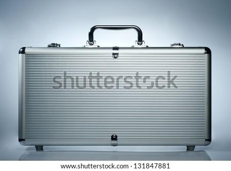 metallic suitcase - stock photo
