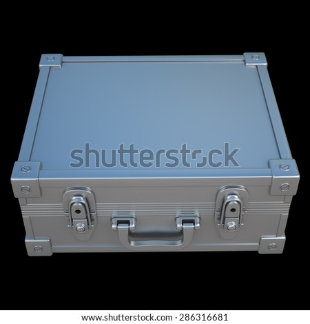 metallic suitcase briefcase isolated on black background. High resolution 3d