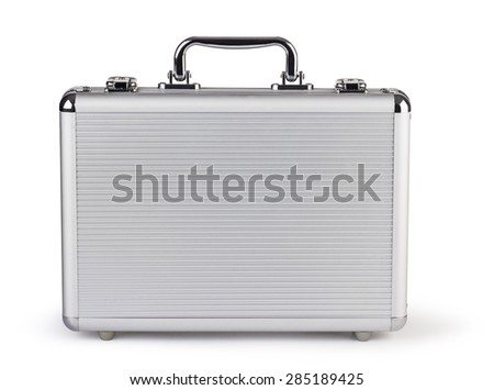 metallic suitcase on white background - stock photo