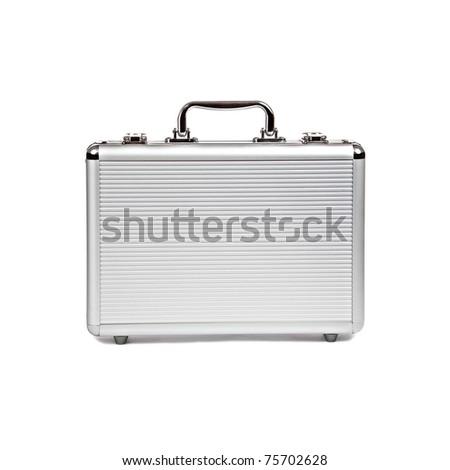 metallic suitcase on white background - stock photo