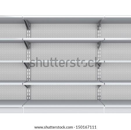 Metallic supermarket empty shelves from front. 3d render - stock photo