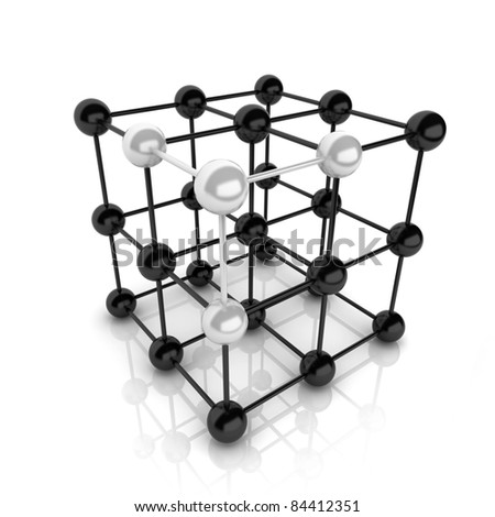 Metallic symbol with cube frame molecule (cube frame) - stock photo