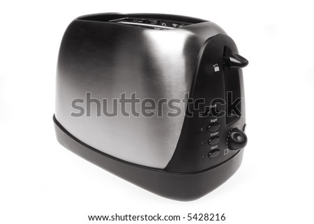 Metallic toaster with retro style isolated in white background - stock photo
