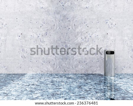 Metallic Trash Bin near the Concrete Wall in Empty Hall Interior  - stock photo