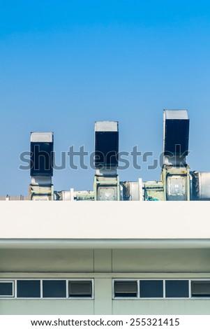 Metallic tube for air ventilation on industrial building. / Metallic tube for air ventilation.  - stock photo