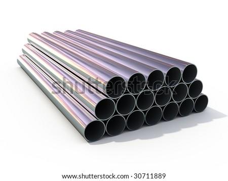 Metallic tubes - stock photo