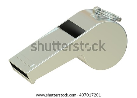 metallic whistle, 3D rendering isolated on white background - stock photo