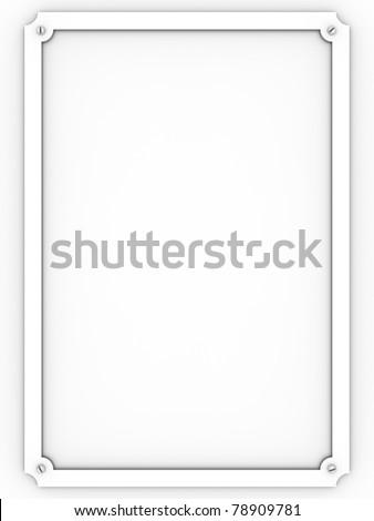 Metallic white plaque over a white background - stock photo