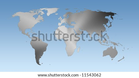 Metallic world map on blue background - stock photo