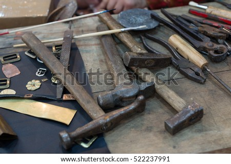 metalsmith tools on a table