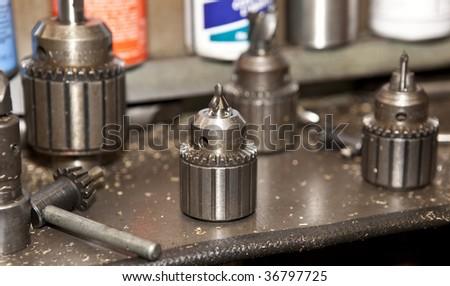 Metalwork lathe chucks - stock photo