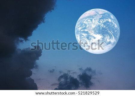 Metaphor and Concept of Beautiful earth and the sunset sky background. Elements of this image image are furnished by NASA.