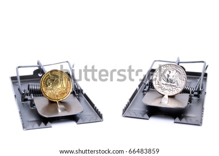 Metaphor describes the risk of trading with currencies,represented with  coins  of two major world currencies ...