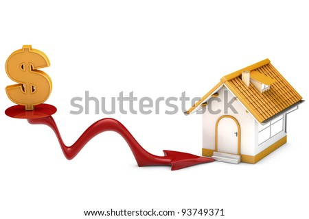 metaphor for the housing crisis, dollar sign, low price and arrow marking house. Designed in 3D.