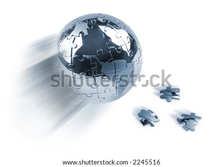 Metaphor image with globe and falling peaces against white background