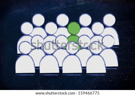 metaphor of uniqueness, one green man among grey crowd - stock photo