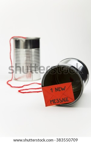 metaphor on the ease with which it can communicate by shortening the distance between people / new technology for simple communication - stock photo