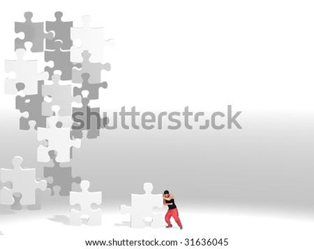 metaphor picture showing a guy moving puzzle pieces, applicable to several concepts
