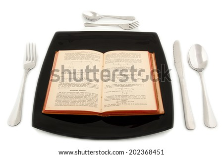 Metaphoric concept with physics book in the plate with cutlery on white table. - stock photo