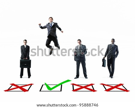 metaphoric image of business people and check box - stock photo