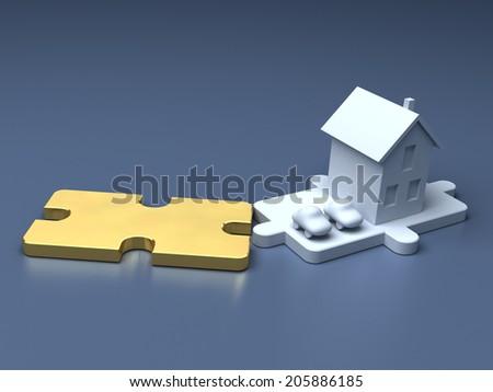 Metaphorical business puzzle. Economic illustration - stock photo