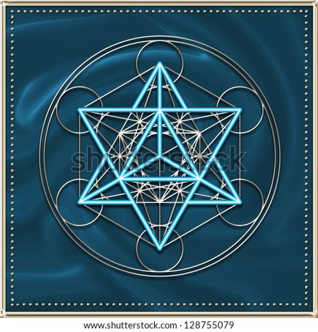 Metatron `s Cube - MERKABA - star tetrahedron - MER = light, KA = spirit, BA = body - stock photo