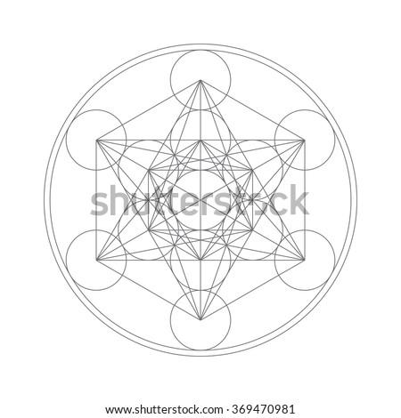 Metatrons Cube - Flower of life. - stock photo