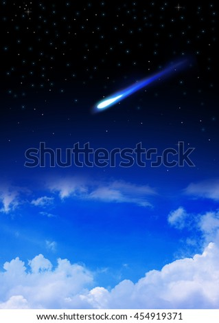Meteor enters the Earth's atmosphere on the starry night sky - stock photo
