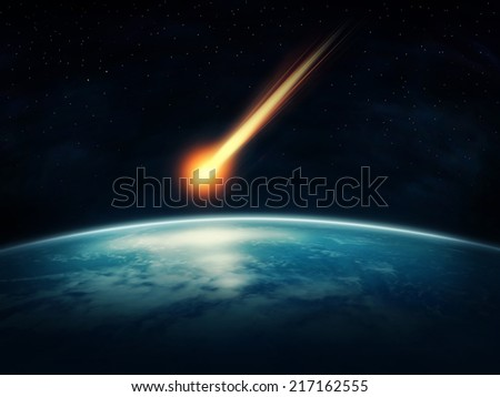 Meteor flying to the earth (Nasa imagery) - stock photo