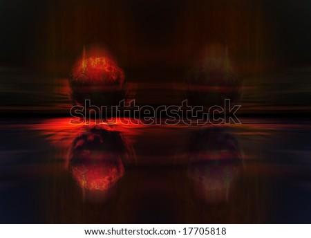 Meteor or Comet Fireball Crashing into Planet Earth Landscape - stock photo