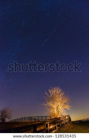 Meteor shower - stock photo