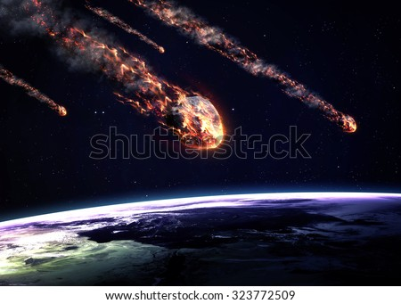 Meteor shower. Elements of this image furnished by NASA - stock photo