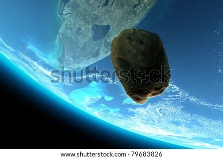 Meteor tumbling towards earth,texture from www.Nasa.gov, 300 D.P.I Animation video also available - stock photo