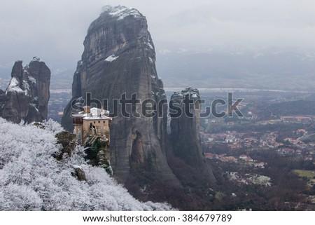Meteora, Greece in the winter - stock photo