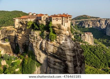 Meteora, Greece - July 15th 2014 - The monastery of Meteora, locating in the top of big rock formatons in central Greece, Europe.