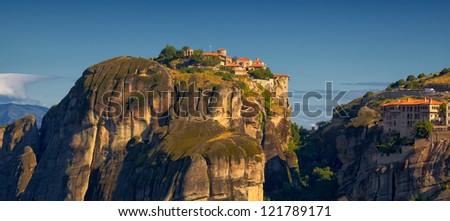 Meteora Monasteries during summer, in Trikala region, Greece. - stock photo